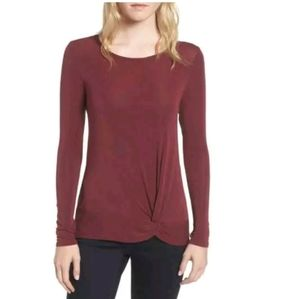 Trouve | Red Front Knot Knit Top S